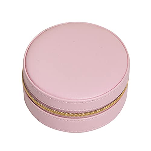 Grebest Caja de almacenamiento de joyería de cuero redonda impermeable portátil ligero exquisito soporte de almacenamiento de joyas para mujeres rojo