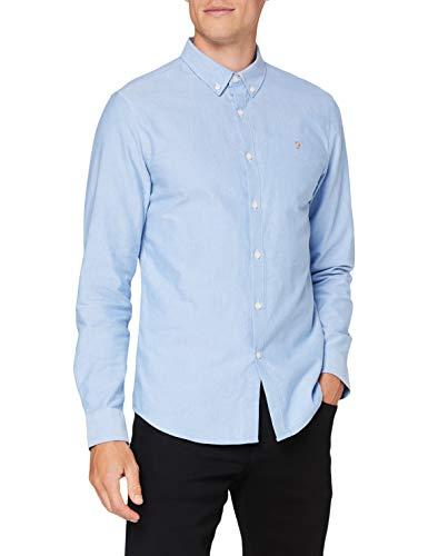 FARAH® Herren Brewer Shirt Hemd, 418 Mittelblau, XL