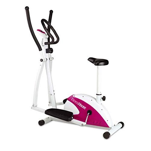 Fitness House FH Dual - Bicicleta elíptica y estática, Adultos Unisex, Rosa y Blanca, Talla única: Amazon.es: Deportes y aire libre