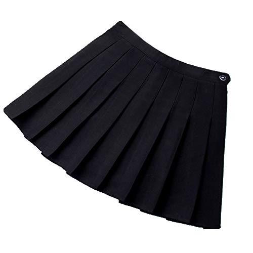 U/A Rock Mädchen A Gitter Kurz Kleid Hohe Taille Plissee Tennis Rock Uniform mit Innenshorts Unterhose für Badminton Cheerleader Gr. 40, Schwarz