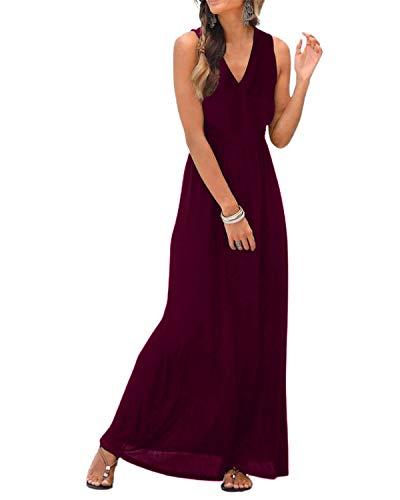 LilyCoco Maxikleider - Vestito estivo da donna, lungo, leggero, scollo a V Colore: rosso L