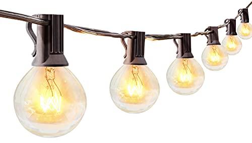 Lichterkette Außen 30er Glühbirnen, 8M Lichterkette Garten wetterfeste, G40 Lichterketten Innen/Aussen als Deko für Balkon Grill Pavillions Party, Warmweiß