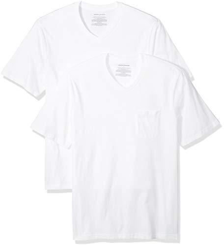 Amazon Essentials - Pack de 2 camisetas de corte holgado con cuello en V y bolsillo en el pecho para hombre, Blanco (White Whi), US M (EU M)