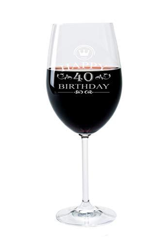 FORYOU24 Leonardo Weinglas mit Gravur Motiv 40 Jahre Wein-Glas graviert Geburtstag Geschenkidee für Weinliebhaber Mutter Vater