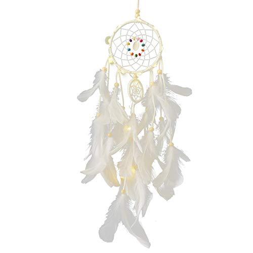 Zhihui Acchiappasogni a LED con piume – Decorazione da parete in camera da letto, sala di nozze e soggiorno – Decorazione bohémien fatta a mano – regali