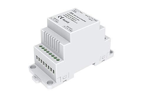 YULED DA-2DMX 2-Kanal DMX512 Splitter für die Hutschiene, Funktionsweise: DMX & PWM Signal - Verstärker, zwei DMX-Ausgänge 12-36V DC, IP20, Digitalcontroller & Hutschienenmontage, 0.5-2.5mm²