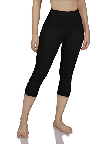 ODODOS Women's Mid Waisted Tummy Control Yoga Capris,19' Inseam Leggings with Inner Pockets,Black,X-Large
