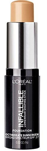 L'Oreal Paris Makeup Infallible Longwear Shaping Stick Foundation, 407 Natural Beige, 1 Tube, 0.32 Ounce