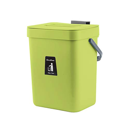 KaryHome Compost Bin for Kitchen Counter, Hanging Small Trash Can with Lid Under Sink,1.3 Gallon Mountable Compost Bucket (Green)