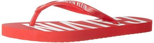 Calvin Klein underwear Damen FF Sandal Zehentrenner, Rot (Fiery Red 602), Gr. XL