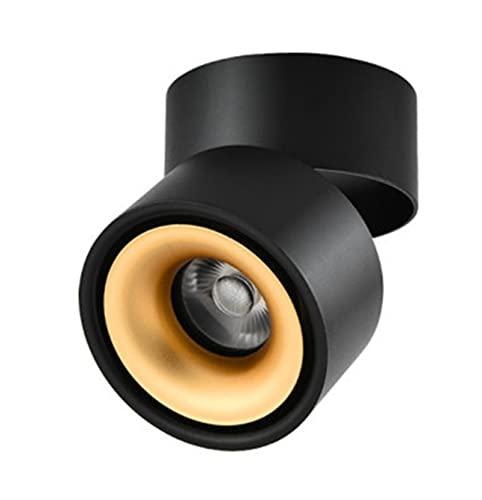 L1YAFYA Regulable DIRIGIÓ Lámpara de Techo AC85-240V 8W 10W 12W 15W LED Luz de Techo montada en Superficie Plegable y con 360 Grados giratorios. MAZORCA Lugar (Body Color : Black Gold, Size : 4000K)