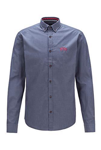 BOSS Herren BIADO R Regular-Fit Button-Down-Hemd aus elastischer Baumwoll-Popeline