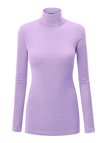 WT950 Womens Long Sleeve Rib Turtleneck Top Pullover Sweater S Lilac