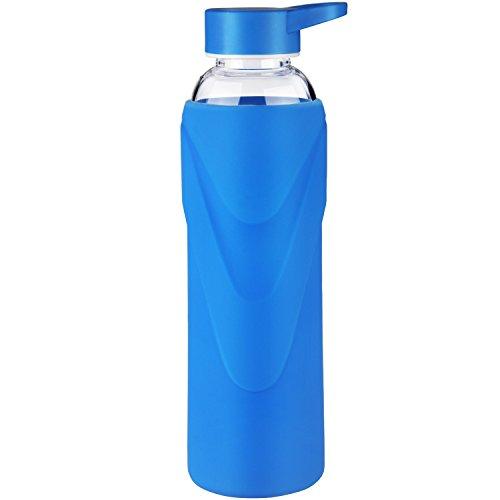 Justfwater Deporte Botella de Agua de Cristal con Funda de Silicona