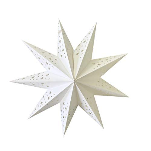 PIXNOR Linterna de Estrella de Papel Blanco Pantalla de Lámpara 9 Puntos Estrella de Origami 3D Pentagrama Decoración de Pantalla Lámpara Colgante de Estrella para La Fiesta de Bodas