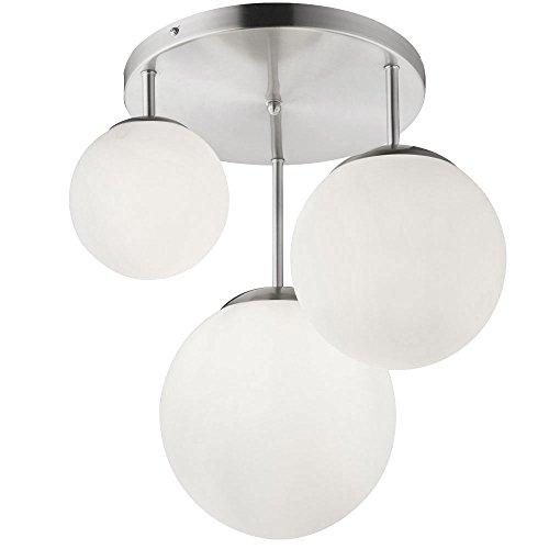 Decken Leuchte Wohn Ess Zimmer Beleuchtung Kugel Glas Lampe satiniert 3-flammig Globo 1581-3DR