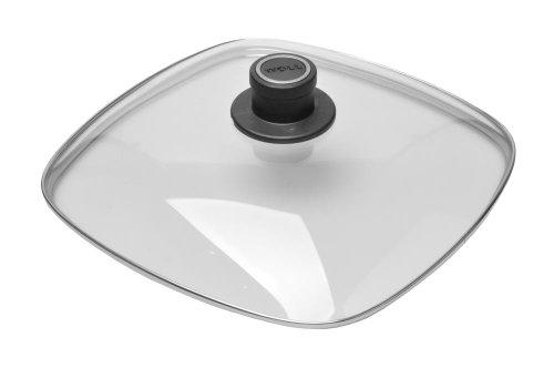 WOLL Sicherheitsglasdeckel, Topfdeckel, viereckig 20 cm x 20 cm, Glasdeckel für Pfannen und Töpfe