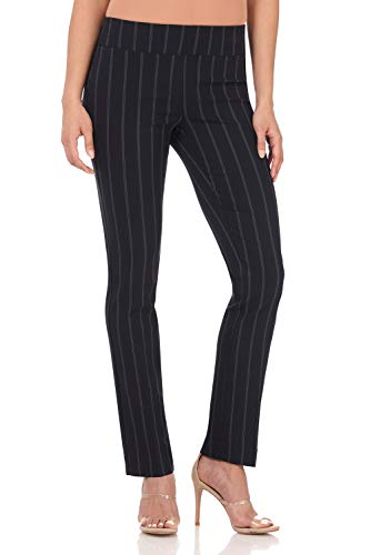 Rekucci Women's Ease Into Comfort Straight Leg Pant with Tummy Control (6,Navy Stripe)