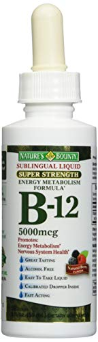 Nature's Bounty B-12 5000 mcg Sublingual Liquid Energy Health 2 oz...