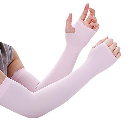 Queen Boutiques Sommer-EIS-Hülsen-Sonnenschutz-Handschuh-Frauen UVschutz-Lange EIS-Silk Hülsen-Armband-Arm-Hülsen-Hülse der Männer (Color : Pink, Größe : A Pair)