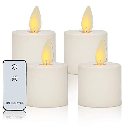 """LED Kerzen, 2\""""Set von 4 Flammenlose Kerzen Teelichter mit Timer, Fernbedienung, Batteriebetrieben, Realistischen Flackernden Docht Flamme"""