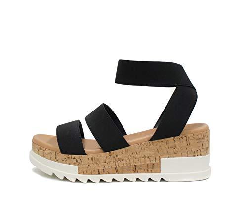 Soda Style Madyson ~ Slip On Open Toe Two Bands Elastic Ankle Strap Flatform Wedge Casual Fashion Sandal with Cork Wrap Bottom (Black, 6)