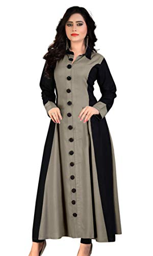 any kids Womens Rayon Regular Kurti A Line with 3/4th Sleeves Fully Stitched Plain Ethnic Kurta for Women and Girls, Everyday Wear