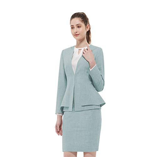 Women Business Suit Set for Office Lady Two Pieces Slim Work Blazer & Skirt (Mint Green, 02)