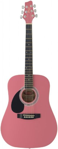 Stagg SW201 3/4 LH PK Left Handed 3/4 Size Dreadnought Acoustic Guitar - Pink