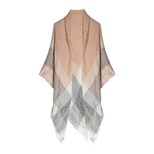Women's Classic Plaid Tartan Grids Scarf Pashmina Blanket Winter Wraps Shawl (grey pink)