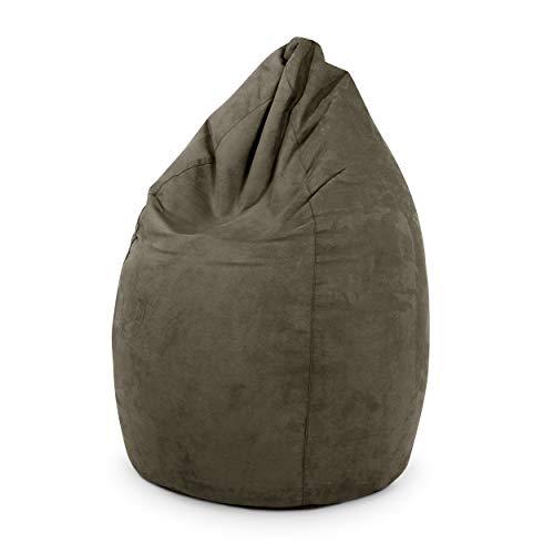 Green Bean © Drop Sitzsack 60x60x90 cm - 220L - Indoor - Sitzhöhe 50 cm, Rückenlehne 40 cm - waschbar, schmutzabweisend, abwischbar - Sitzkissen Bean Bag Gaming Sessel - Wildleder Optik - Braun