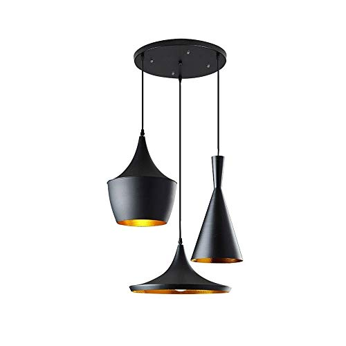 Lámpara colgante LED industrial vintage, altura regulable, exterior negro, 3 casquillos E27 para salón, comedor, bar, pasillo, sótano