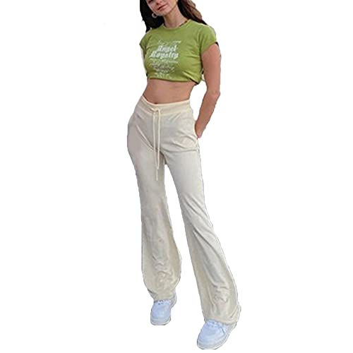 Briskorry Pantalones de deporte para mujer, de algodón, para el tiempo libre, yoga, con bolsillos, pantalones de punto con pierna ancha, pantalones de percusión para mujeres, Blanco2, S