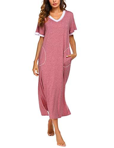 ADOME Nachthemd Baumwolle Nachtkleid Sommer still Pyjama lang Nachtwäsche Negligee Sleepshirt Schlafkleid V-Ausschnitt (XL, 6619_rot)