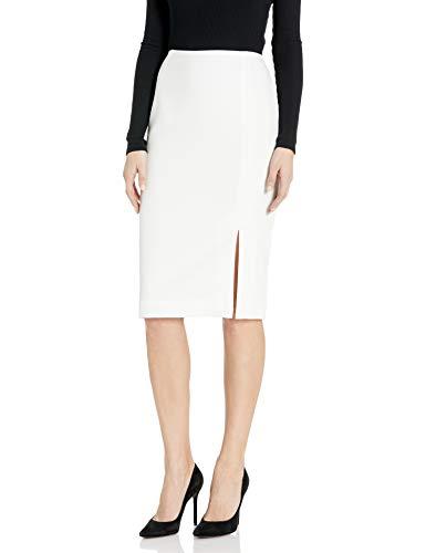 Tahari ASL Women's Pencil Skirt with Slit, Ivory, 8