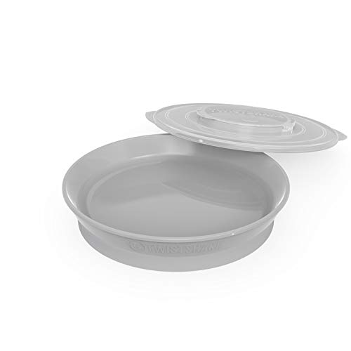 Twistshake Plate 6+M, Baby Plate Accessories, Quality Plastic Food Containers (Gray)