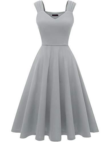 DRESSTELLS Damen 1950er Midi Rockabilly Kleid Vintage V-Ausschnitt Hochzeit Cocktailkleid Faltenrock Grey XL