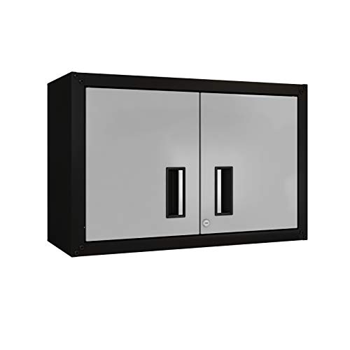 itbe for Home Ready-to-Assemble Small Wall Steel Cabinet 2 Doors (Black and...