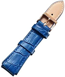 Songlin@yuan  Simple and Stylish with Silver Buckle Leather Strap, Width: 18 mm Fashion (Color : Blue)