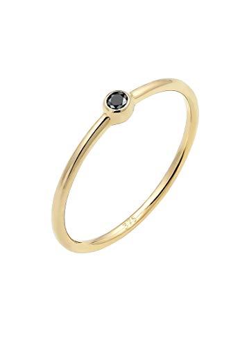 Elli PREMIUM Ring Damen Solitär Schwarzer Diamant (0.03 ct) 375er Gelbgold