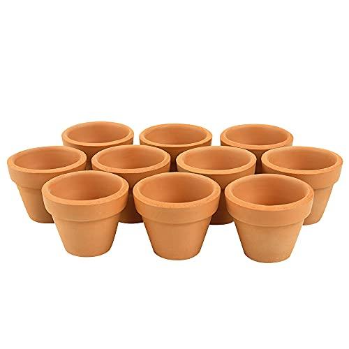 Macetas de terracota Mopoin, 10 unidades, pequeñas macetas de arcilla con agujeros, para plantas suculentas, para interior y exterior, 4,5 x 4 cm
