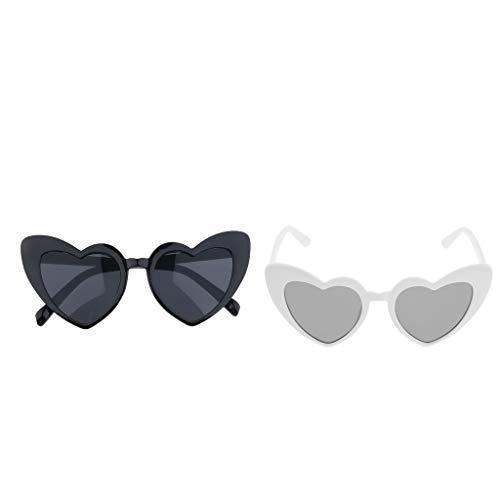 harayaa 2 Piezas de Gafas de Sol Estilo Corazón Vintage Estilo Ojo de Gato Gafas Retro para Mujer