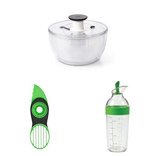 OXO Good Grips Centrifugadora para Ensalada + Pelador Aguacates + Mezclador para vinagreta