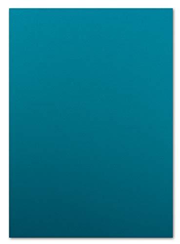 50 Blatt Ton-Karton DIN A4 - Farbe: Türkis -Ton-Papier 160 g/m² gerippte Oberfläche - Ton-Zeichen-Papier Bastel-Papier Bastel-Karton - Glüxx-Agent