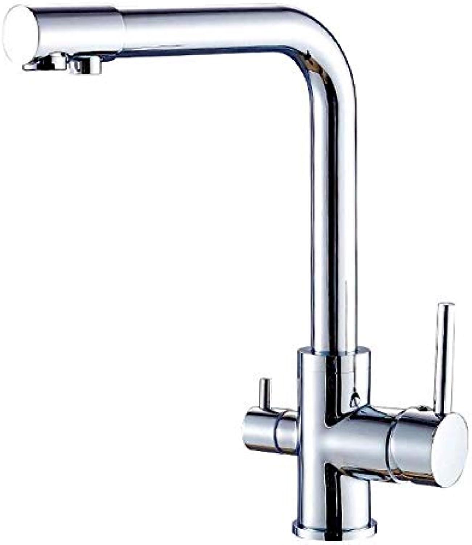 QIMEIM Bad Wasserhahn Waschtischarmatur 3-Wege Wasser Filter 360° Drehgelenk 2-Hebel Trinkwasser Systeme aus Messing (verchromt) Waschbecken Mischbatterie Badarmatur