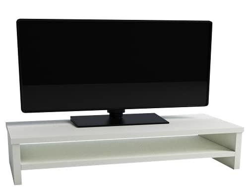 Henor Soporte Madera TV Monitor Elevador de Pantalla con Estante Intermedio 82x26.5x16 Cm Muebles de TV Soporte para TV. Soporta 50 Kg. Blanco