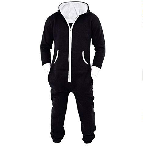 AHECZZ Pijama de una Pieza,Adultos Pijamas Pijamas de una Pieza para Hombre Mono Home Wear XXL Negro