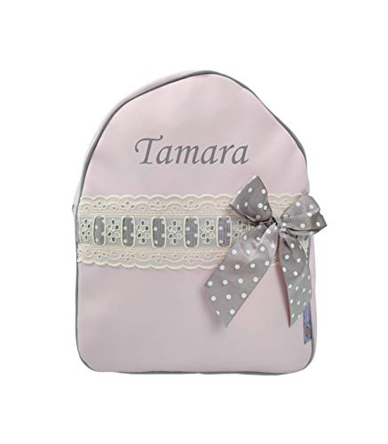 Mochila o Bolsa Infantil Lencera Personalizada con Nombre plastificada. Modelo Emma (Rosa/Gris)