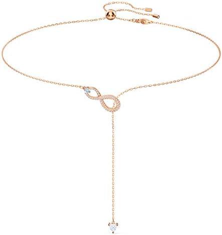 SWAROVSKI Women s Infinity Knot Rose gold Finish Y Necklace White Crystal product image