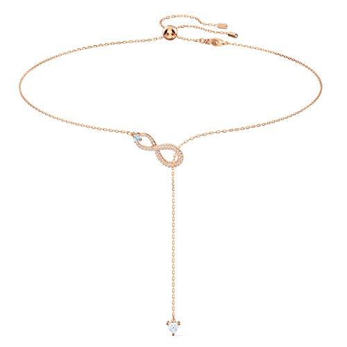 Swarovski Infinity Y-Halskette, Rosé Vergoldete Damenhalskette mit Infinity-Symbol und Funkelnden Swarovski Kristallen